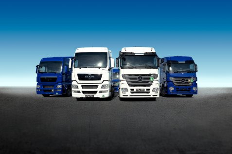 Four trucks from the TRS fleet